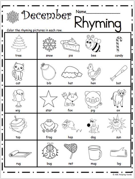 Free Kindergarten Rhyming Worksheets For December Madebyteachers
