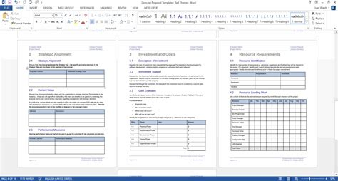 concept proposal template ms wordexcel spreadsheets