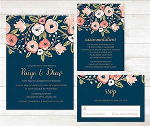 Navy gold wedding invitation set garden wedding invitation for Navy wedding invitations canada