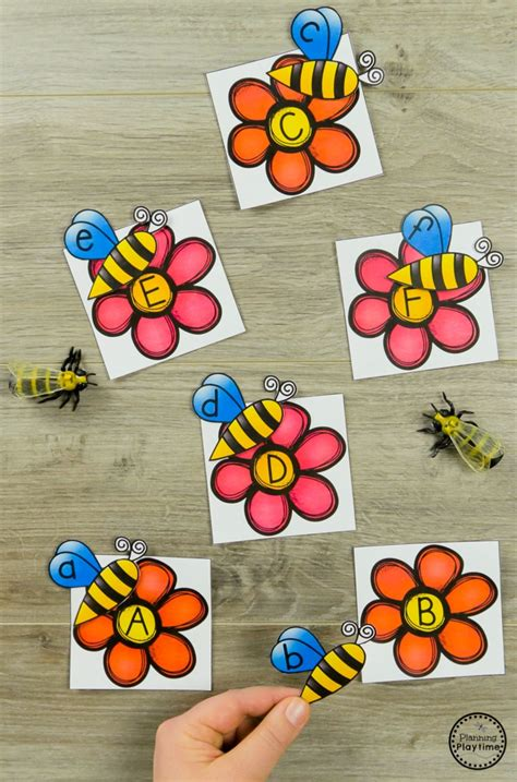 bug activities planning playtime 552 | Bee to Flower Letter Matching Preschool Bug Activities for Spring