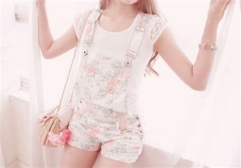 Shorts denim overalls overalls floral pastel floral overalls jumpsuit flowers white ...