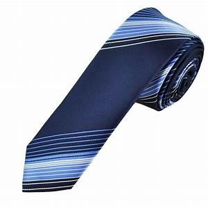 Navy, Blue & White Stripes Men's Skinny Tie from Ties ...