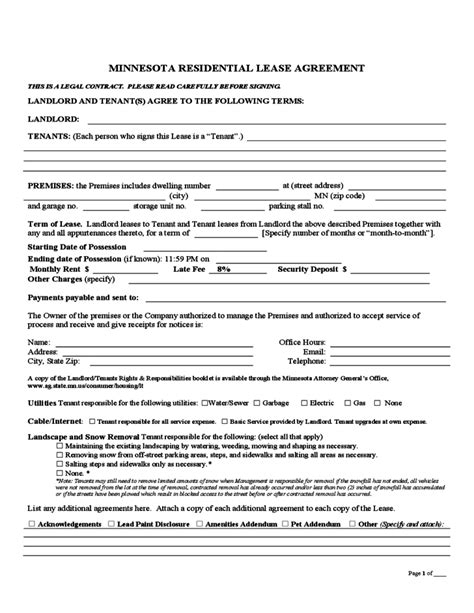 minnesota month  month lease agreement