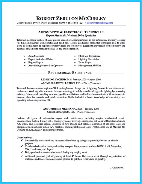 Automotive Resumes by Writing Your Great Automotive Technician Resume