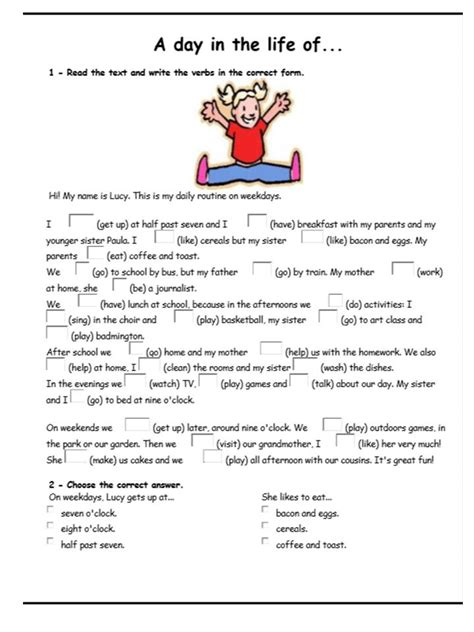 english activities  simple present reading comprehension