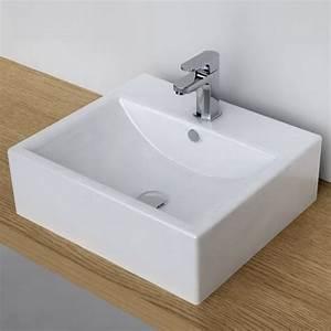 Vasque À Poser Rectangulaire : vasque poser rectangulaire 51x45 cm plage robinet ~ Melissatoandfro.com Idées de Décoration
