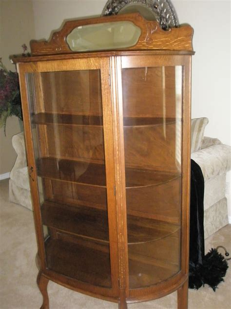 Vintage Curved Glass Curio Cabinet by Antique China Cabinet Curved Glass