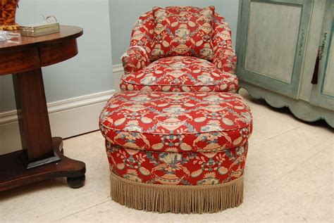 style chintz upholstered chair and ottoman