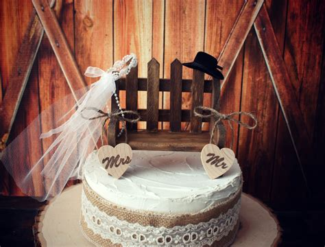 Western Wedding Cake Topper Rustic By Morganthecreator On Etsy
