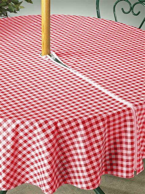 vinyl tablecloth goes around the umbrella home vinyls the o jays and tablecloths