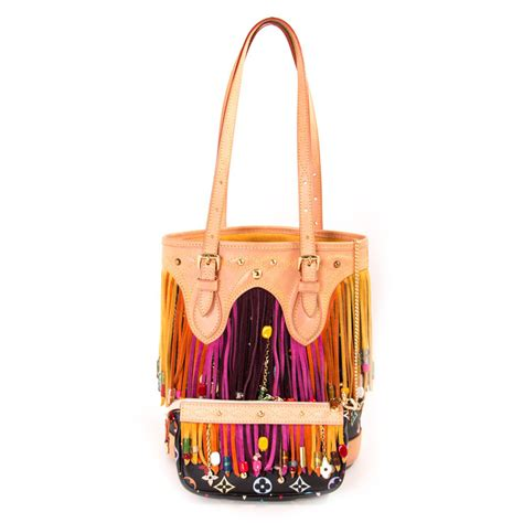 louis vuitton black monogram multicolor fringe bucket bag