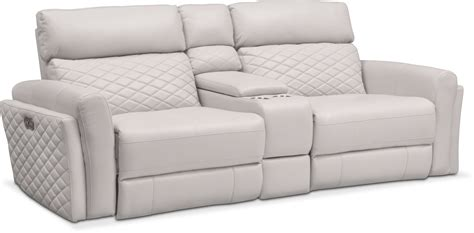 Recliner Sofa With Console by 3 Power Reclining Sofa With Console Ivory