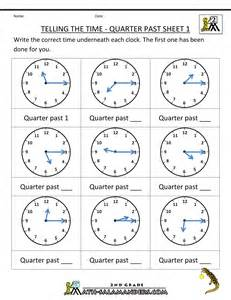 math sheets clock worksheets quarter past and quarter to