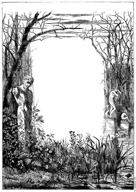 Mournful / Contemplative Full-Page Border With Statues
