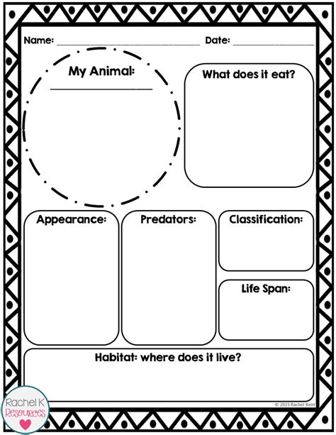animal report template tpt science lessons report