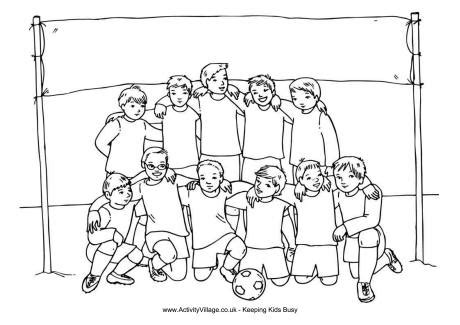 boys soccer team colouring page