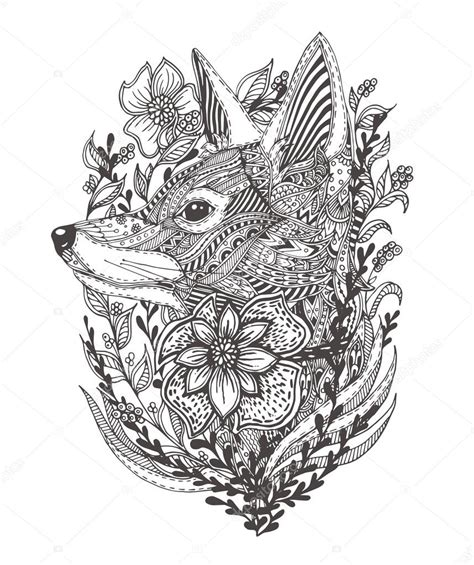 foto de Fox in flowers Stock Vector © Moskoviya #107126292