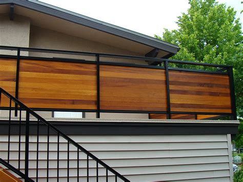 Horizontal Deck Railing Ideas by Metal Framed Horizontal Wood Privacy Rail Deck Railing