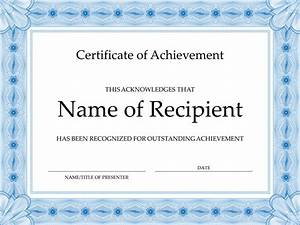 Certificate of achievement blue office templates for Certificate of attainment template