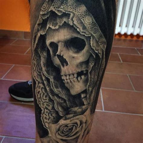 black  white detailed leg tattoo  human skeleton