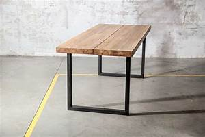Table Bois Massif Brut : table en teck et acier blok fabrication artisanale for me lab ~ Teatrodelosmanantiales.com Idées de Décoration