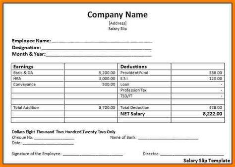 employee salary slip format sales slip template