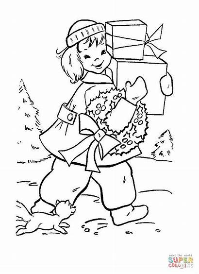 Coloring Shopping Pages Christmas Boat Dragon Supermarket