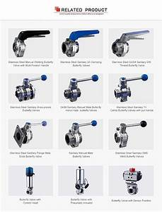 Sanitary Hygienic Manual Male Threaded Pneumatic Butterfly