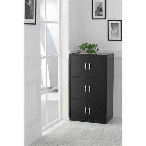 Bookcase With Doors Black by Hodedah 3 Shelf 41 In H Black Bookcase With Doors