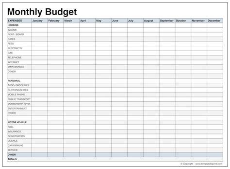 budget worksheet printable business proposal
