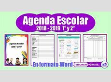 AGENDA ESCOLAR 2018 2019 1° y 2° Grado I Gratis en Word