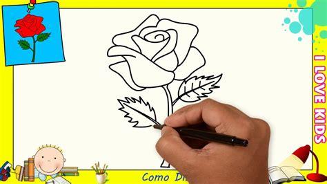 Como dibujar una rosa FACIL paso a paso para niños y