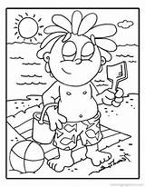 Coloring Pages Beach Scene Sunscreen Printable Popular Getcolorings sketch template
