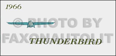 ford thunderbird reprint owners manual