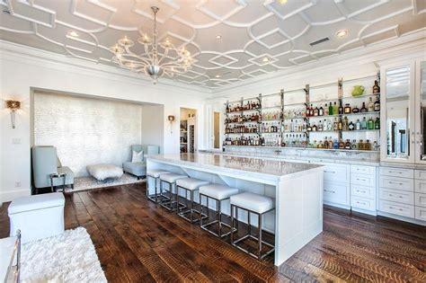 Long Glass Wet Bar Shelves   Contemporary   Living Room