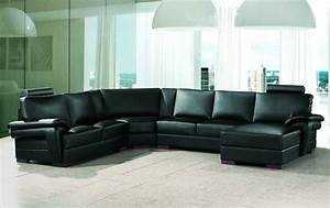 2253 modern black leather sectional sofa for Sectional sofa for large room