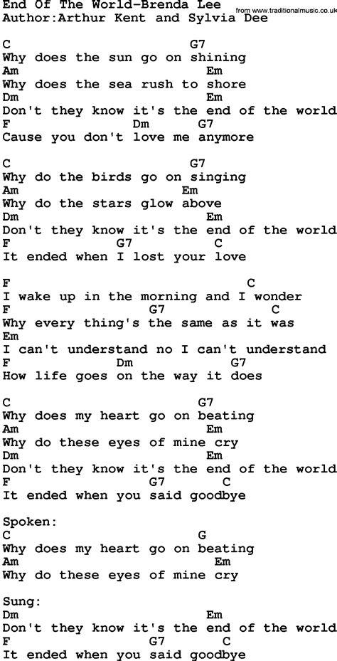 brenda lee end of the world lyrics country music end of the world brenda lee lyrics and chords