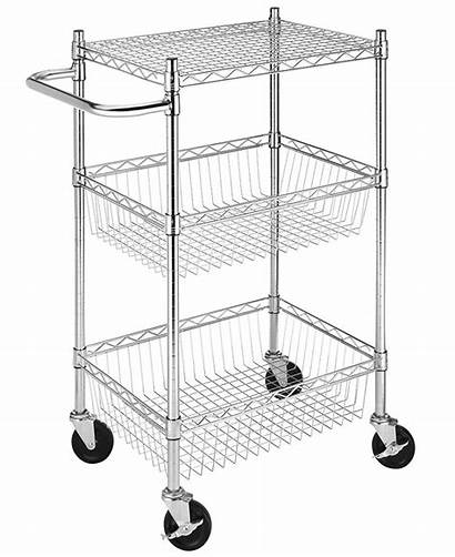 Tier Rolling Basket Commercial Whitmor Walmart Chrome