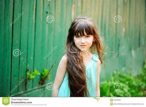 portrait   child girl  long hair stock