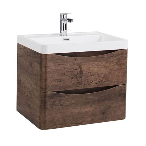 600mm wall hung vanity unit jupiter bali chestnut finish 600mm 2 drawer wall hung