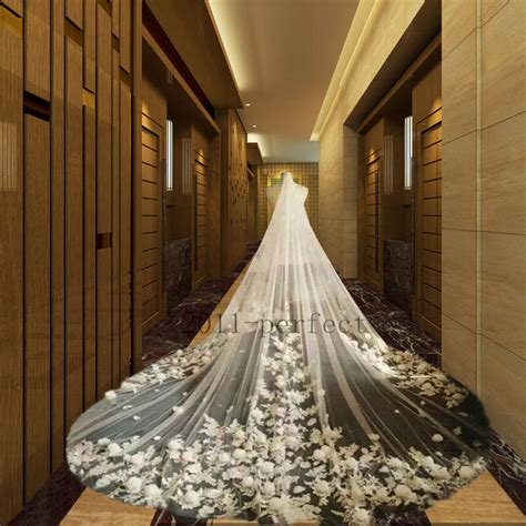 2017 Petals Wedding Veils Cathedral Train 1 Layer