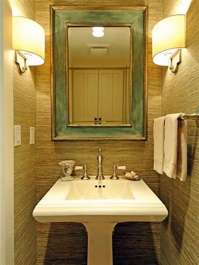 Powder Transitional Hgtv Gold Raffia Sink Mirror