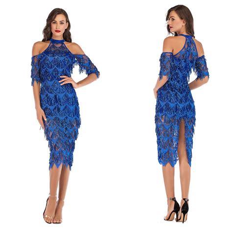 Hollow Out Shoulder Middle Sleeve Sequins Tassel Blue Slim ...