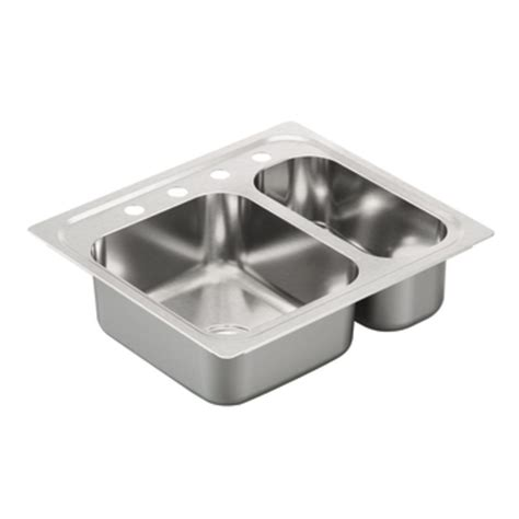 25 stainless steel kitchen sink shop moen 2000 series 22 in x 25 in stainless steel 2