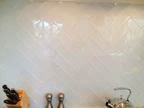 Herringbone Glass Tile Backsplash
