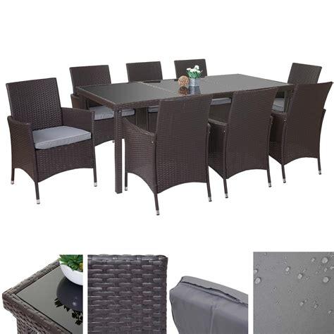 Polyrattangarnitur Terni, Garten Sitzgruppe Tisch + 8