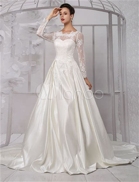 long sleeve lace wedding dress bridal gown  cathedral