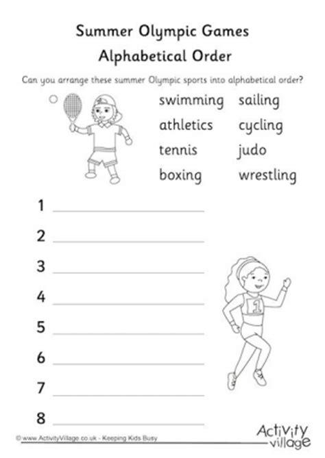 olympic games alphabetical order worksheet