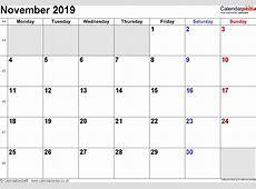 Calendar November 2019 UK, Bank Holidays, ExcelPDFWord