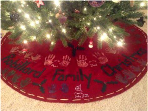 how to make a no sew handprint christmas tree skirt one